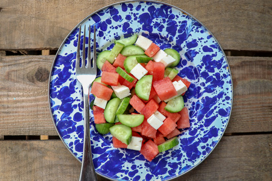 On-the-go summertime snacks - watermelon, cucumber, feta