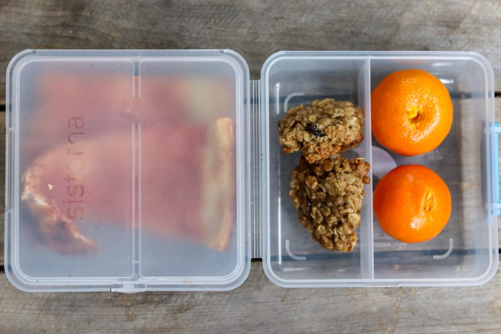 Leftover Pizza, oatmeal cookies and clementines